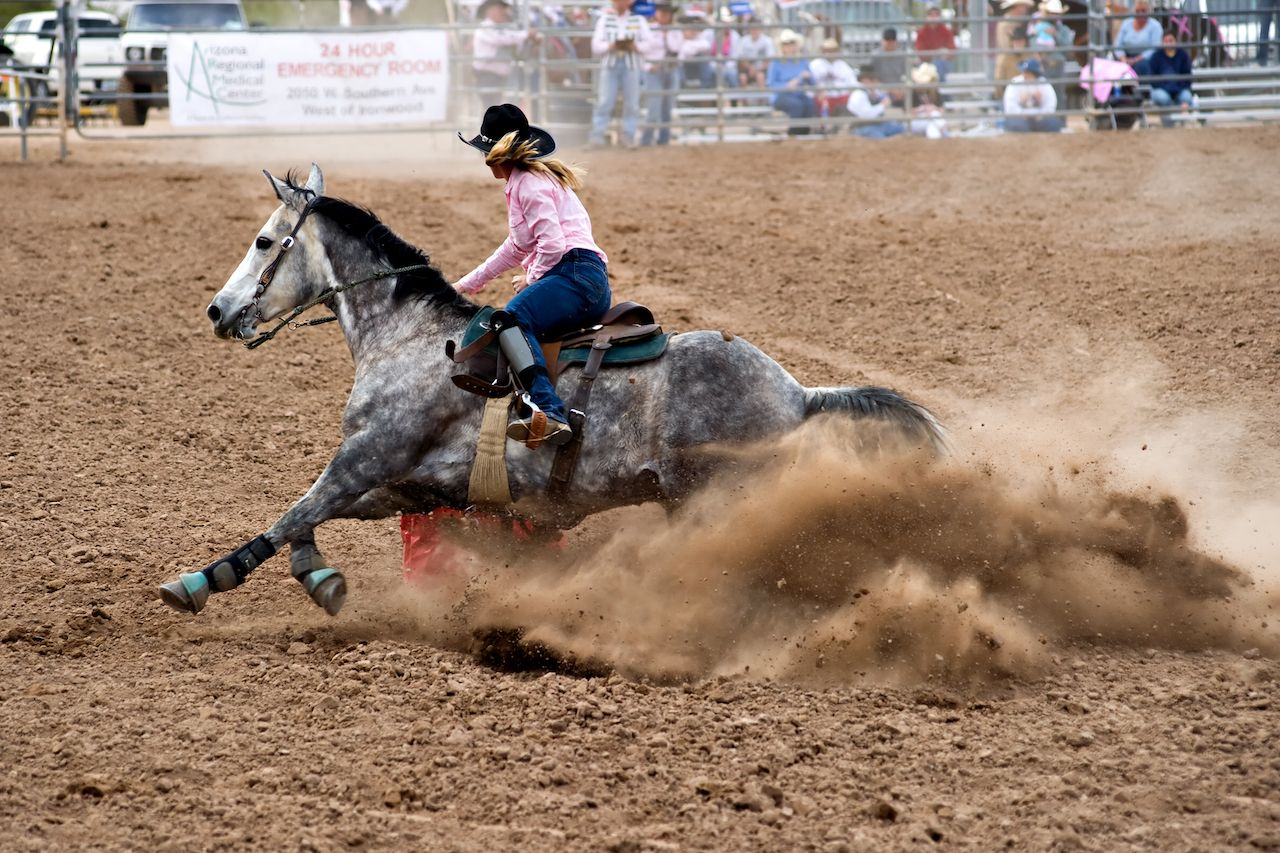 competitor rides a horse in the barrel race competition at the Lost Dutchman Days Rodeo
