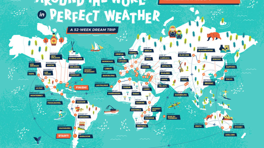 This map shows how to stay in perfect weather all year