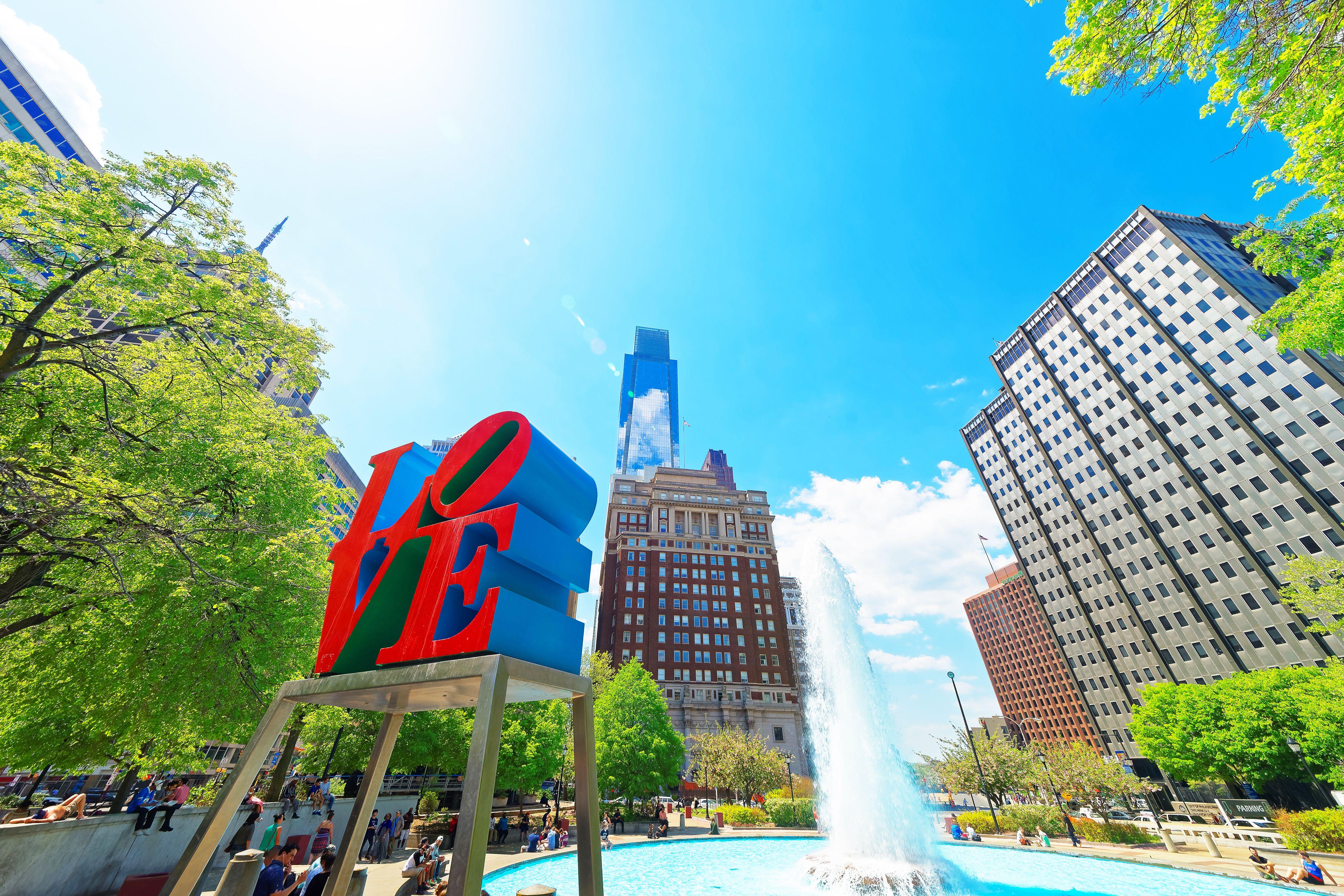 Love sculpture in Love Park in Philadelphia, Pennsylvania