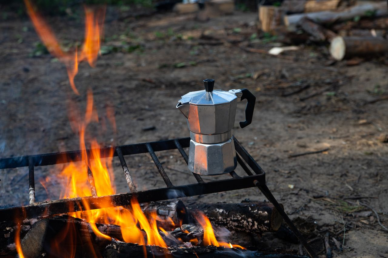 Moka pot on a fire