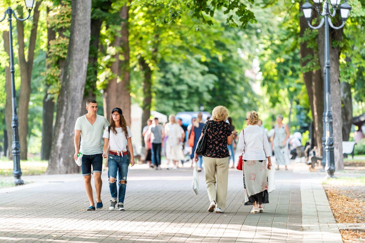 People walking in Mariinskyi Park