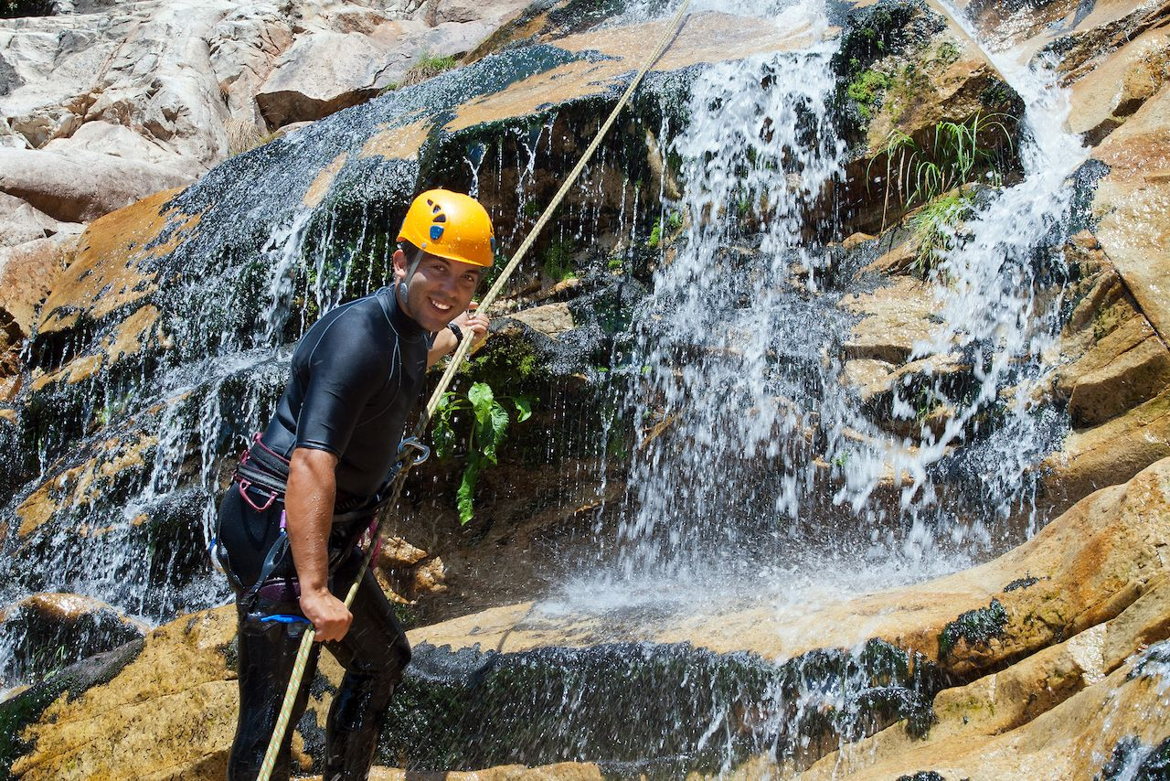 Person canyoning