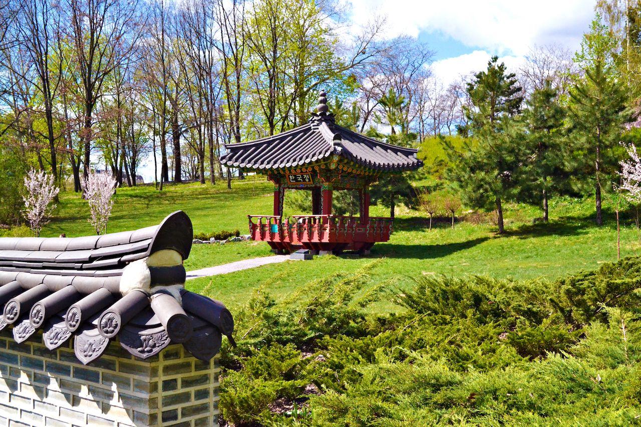 Traditional Korean style pagoda in Korean pavilion in Kiev in Hryshko National Botanical Garden