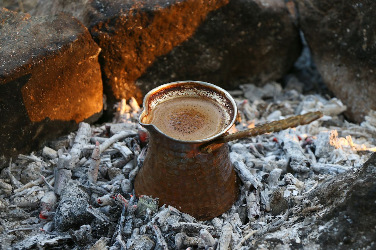 Turkish coffee on coals