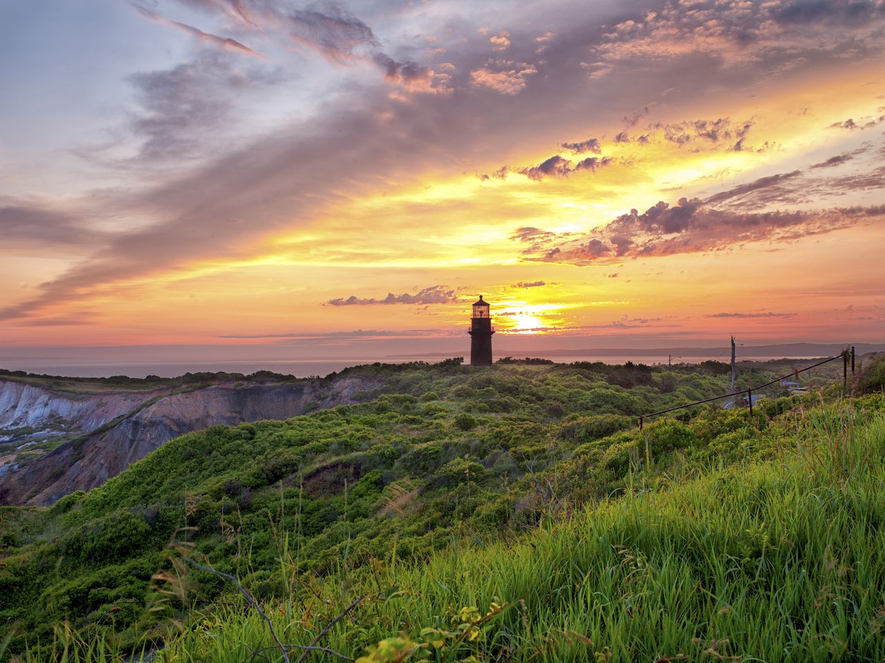 View of a lighthouse with colorful sky