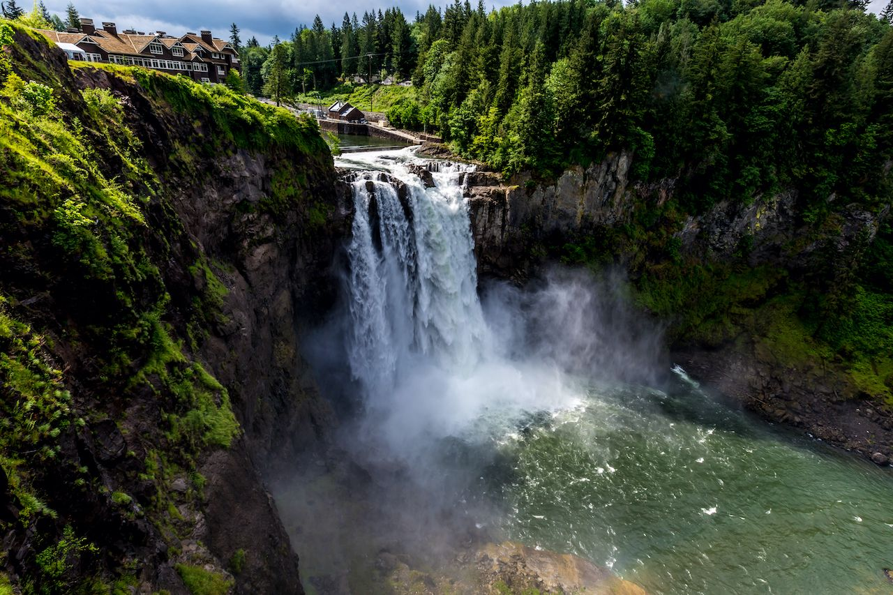 The Beautiful Snoqualmie Waterfall in the Great Pacific Northwest, USA. Upper Landing View most instagrammed waterfalls