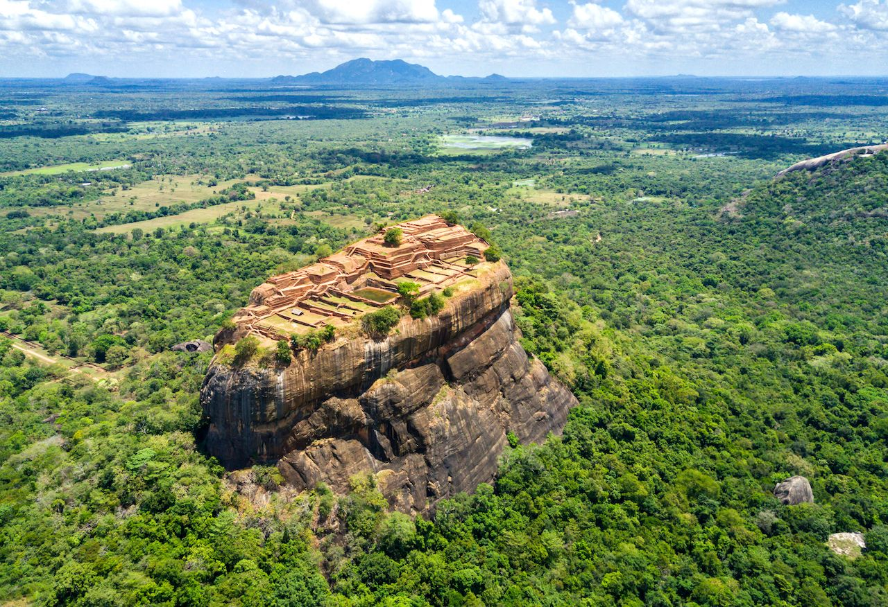 Aerial view from above of Sigiriya