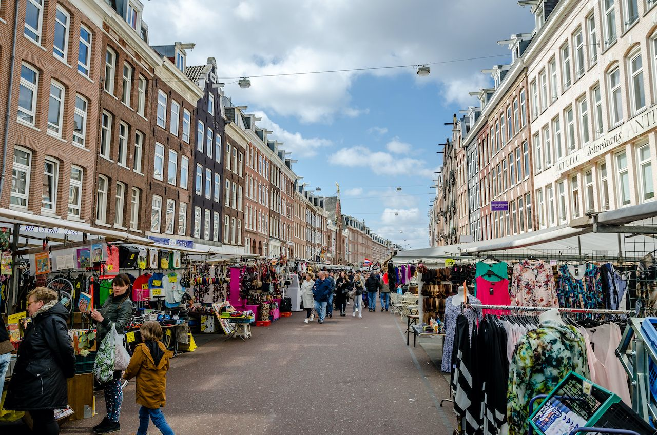 Albert Cuyp market in the city part De Pijp