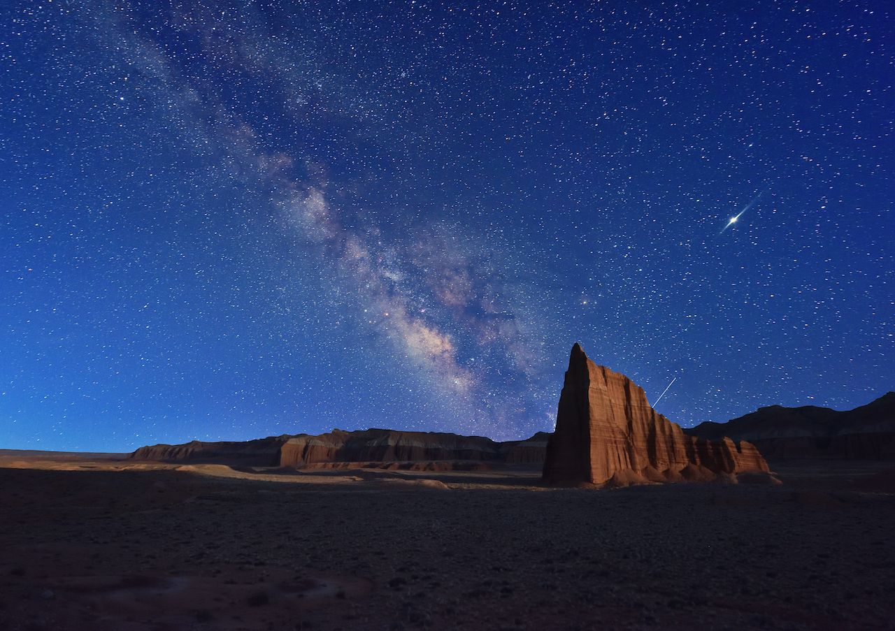 Milky Way and Temple of the Sun, Cathedral Valley, Capitol Reef National Park