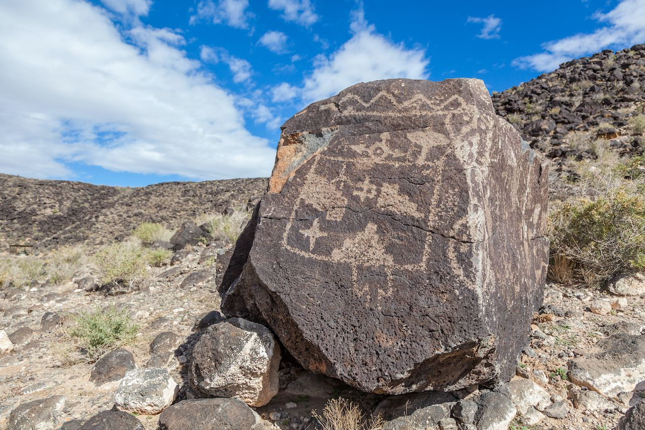 Petroglyphs and prehistoric carvings at Boca Negra Petroglyph National Monument, Albuquerque, New Mexico