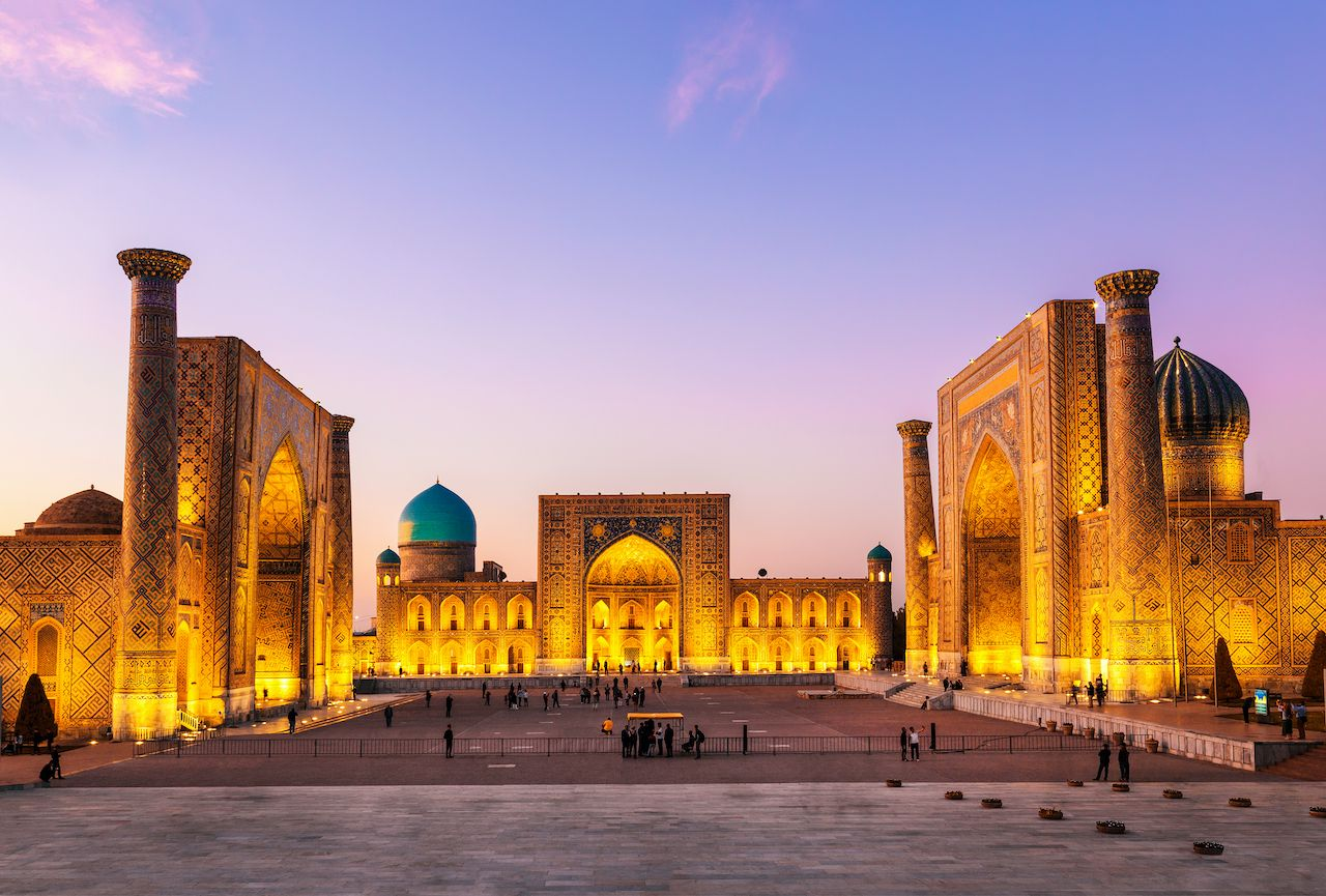 View of Registan square in Samarkand
