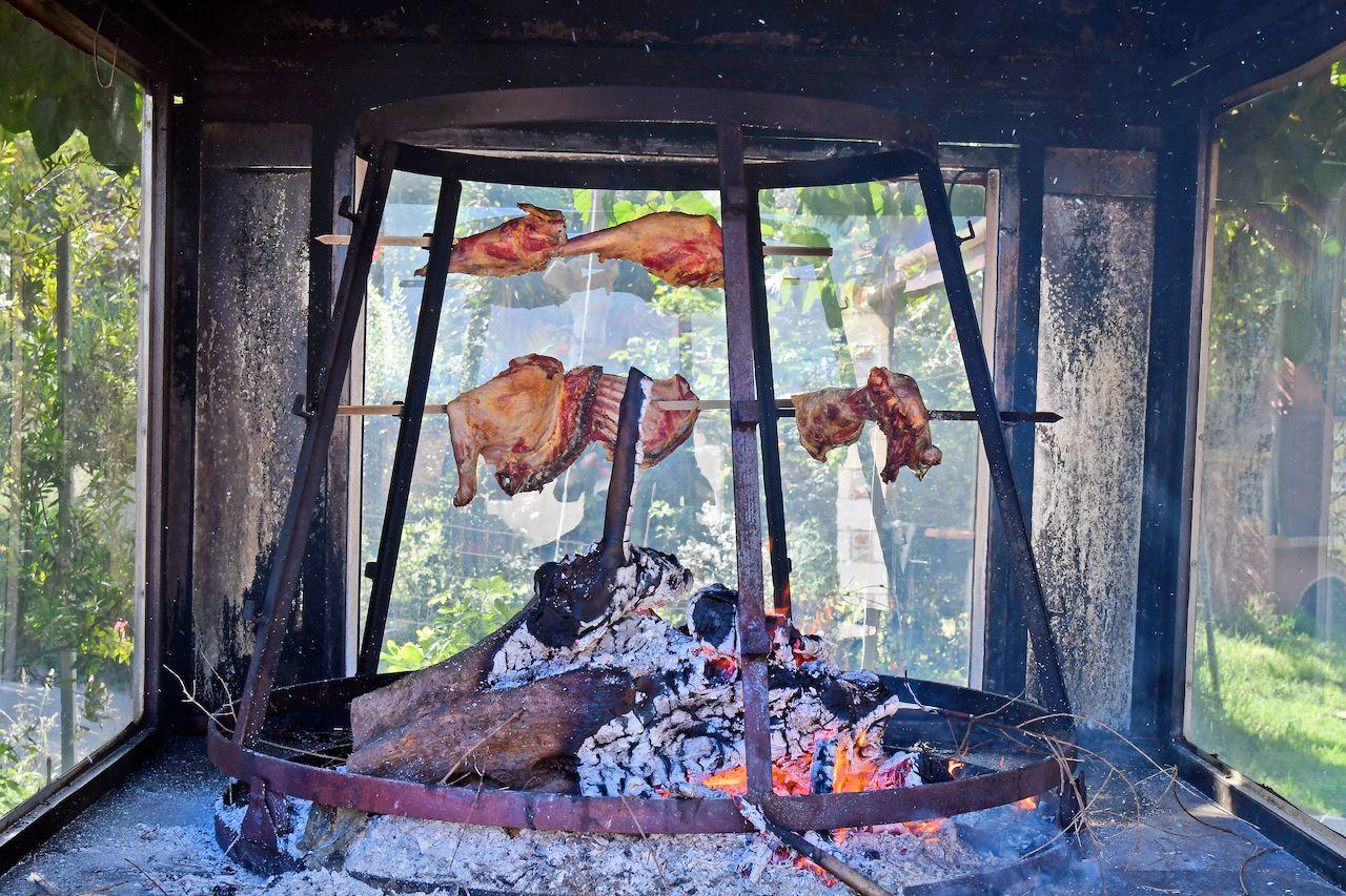 lamb on open fire