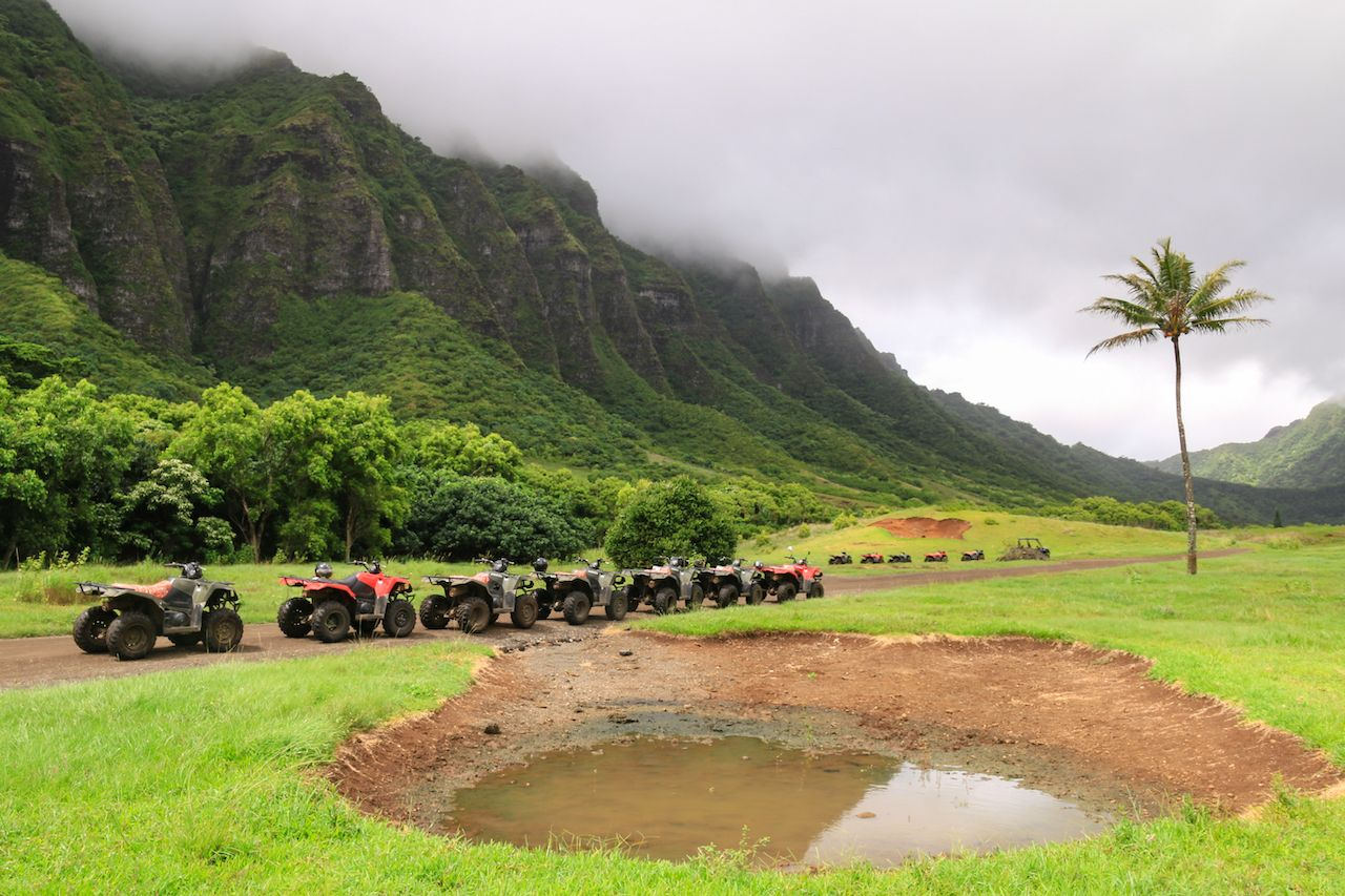 ATVs in a row on unpaved road