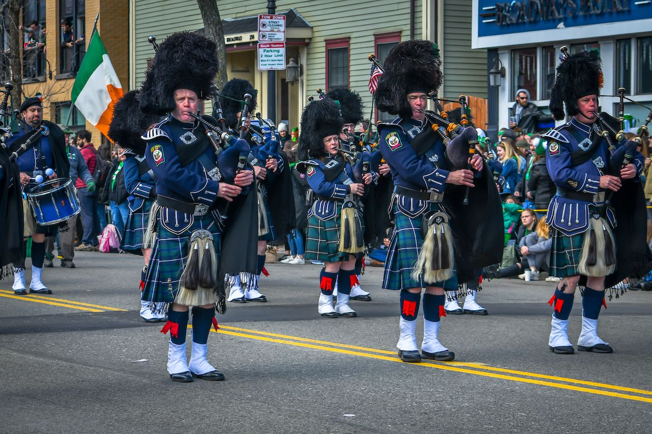Bagpipers perform in the Boston St Patrick's Day Parade