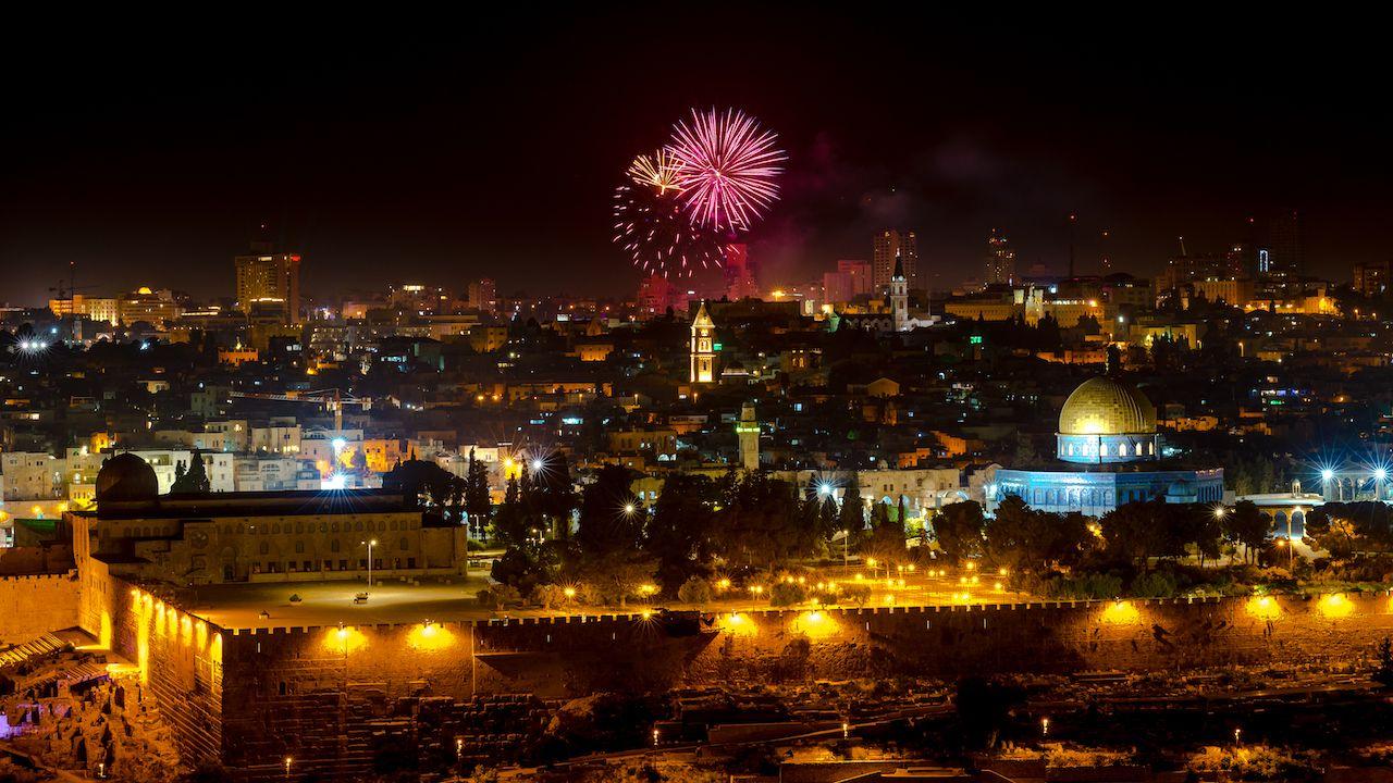 Fireworks over Jerusalem, celebrating the Israel's Independence Day
