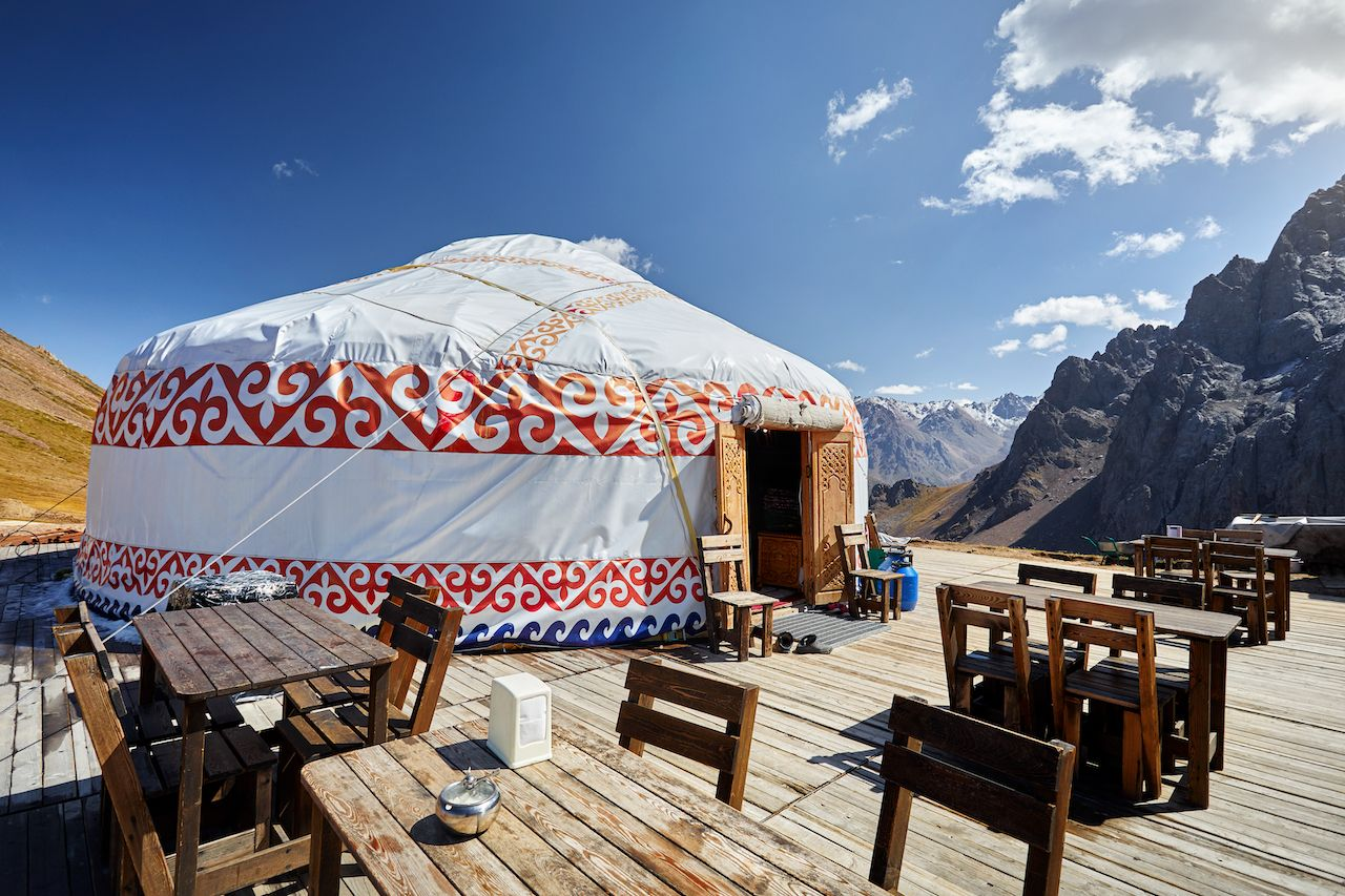 Restaurant from Yurt nomadic house at Ski resort Shymbulak in Almaty, Kazakhstan