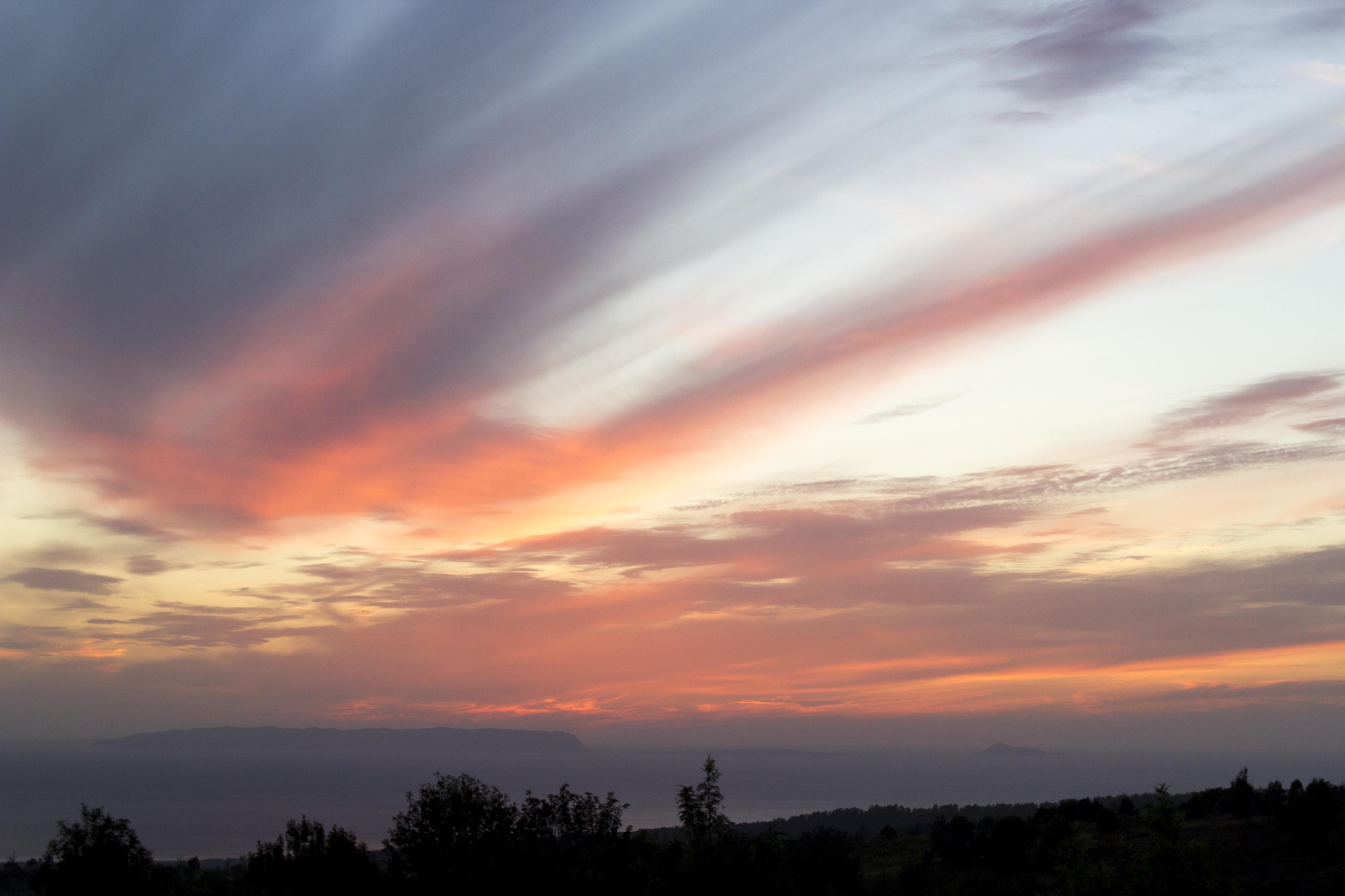 Sunset over Ni'ihau island on Kaua'i
