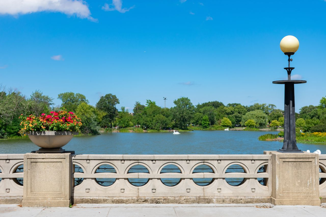 View of the Humboldt Park Lagoon in Chicago