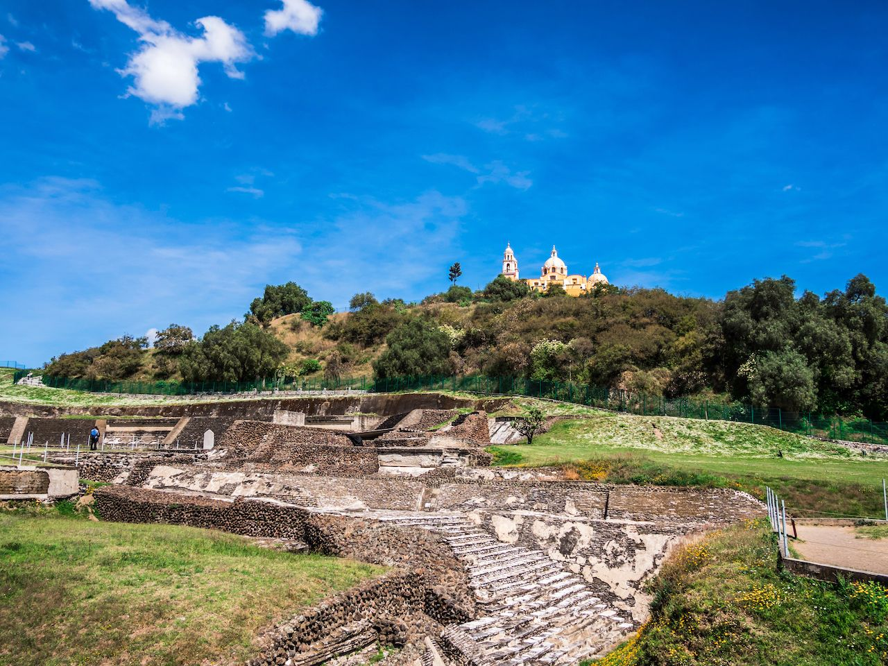 view of the Great Pyramid of Cholula in Mexico