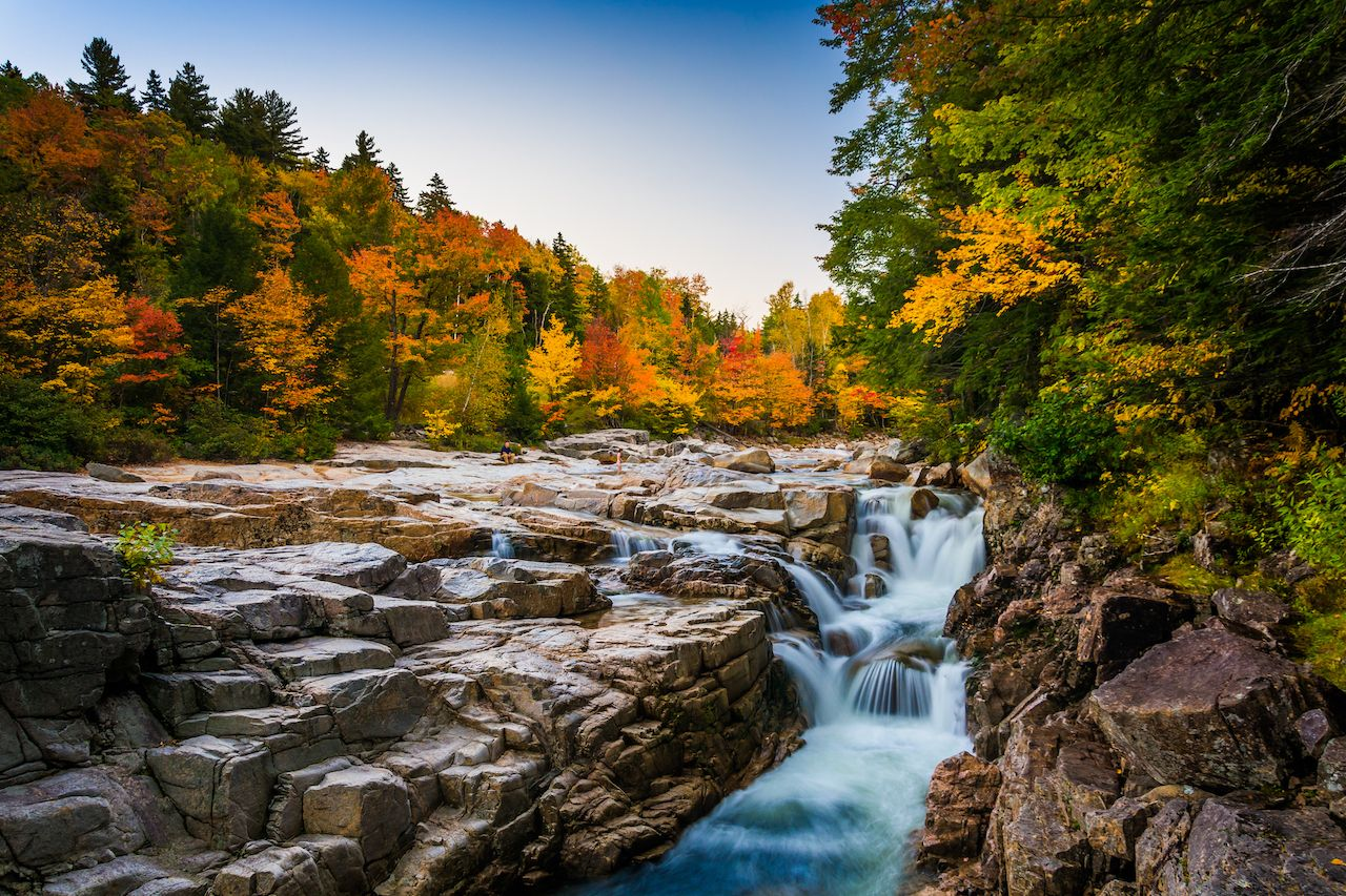 Autumn color and waterfall at Rocky Gorge,