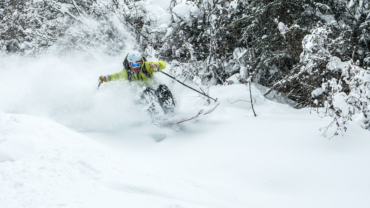 Blasting through the pillows of snow while backcountry skiing