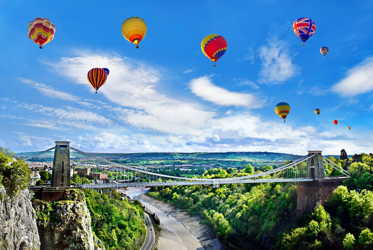Clifton Suspension Bridge with balloons
