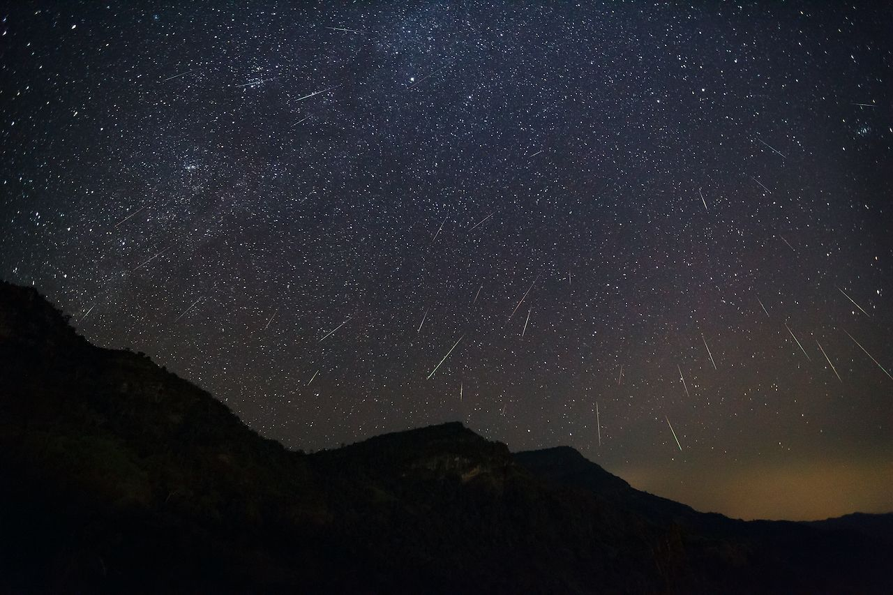 Geminid Meteor in the night sky