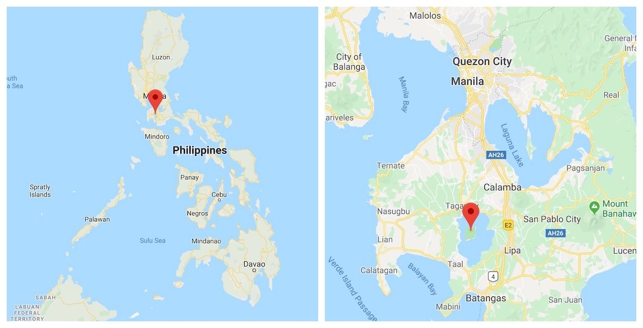 Map Taal volcano Philippines