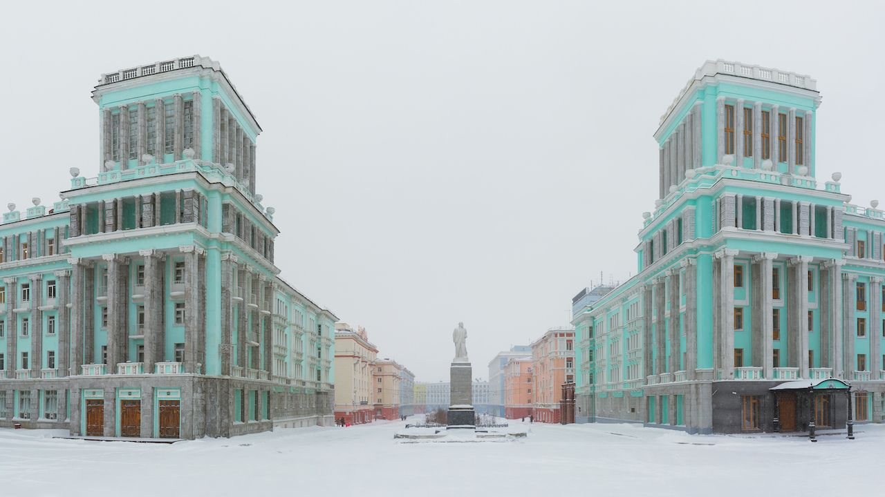 Panorama of October Square in the Norilsk city