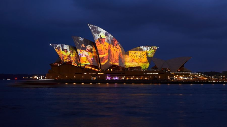 Sydney Opera House lights up in support of firefighters