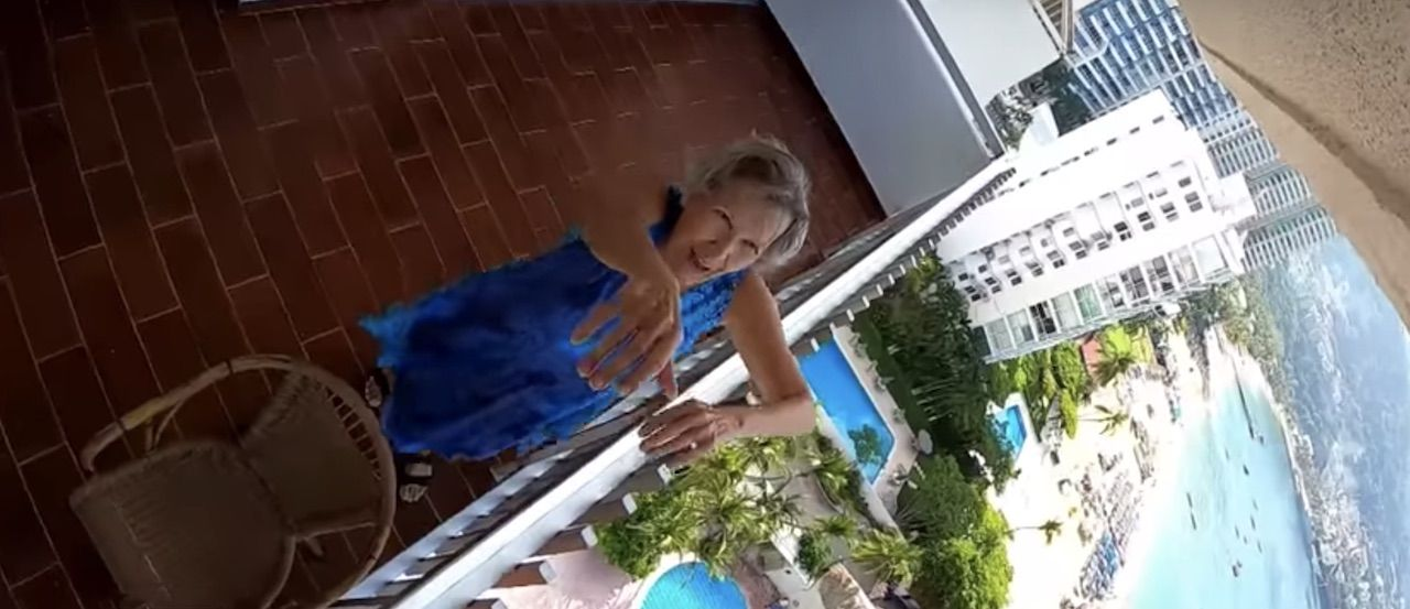 Old lady rescues base jumper