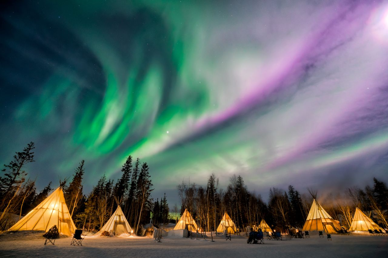 northern lights at Aurora Village in Yellowknife