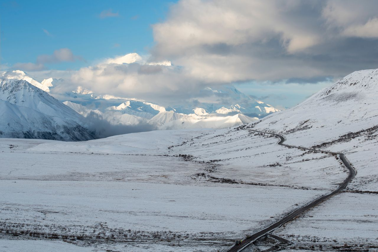 Denali park road in winter
