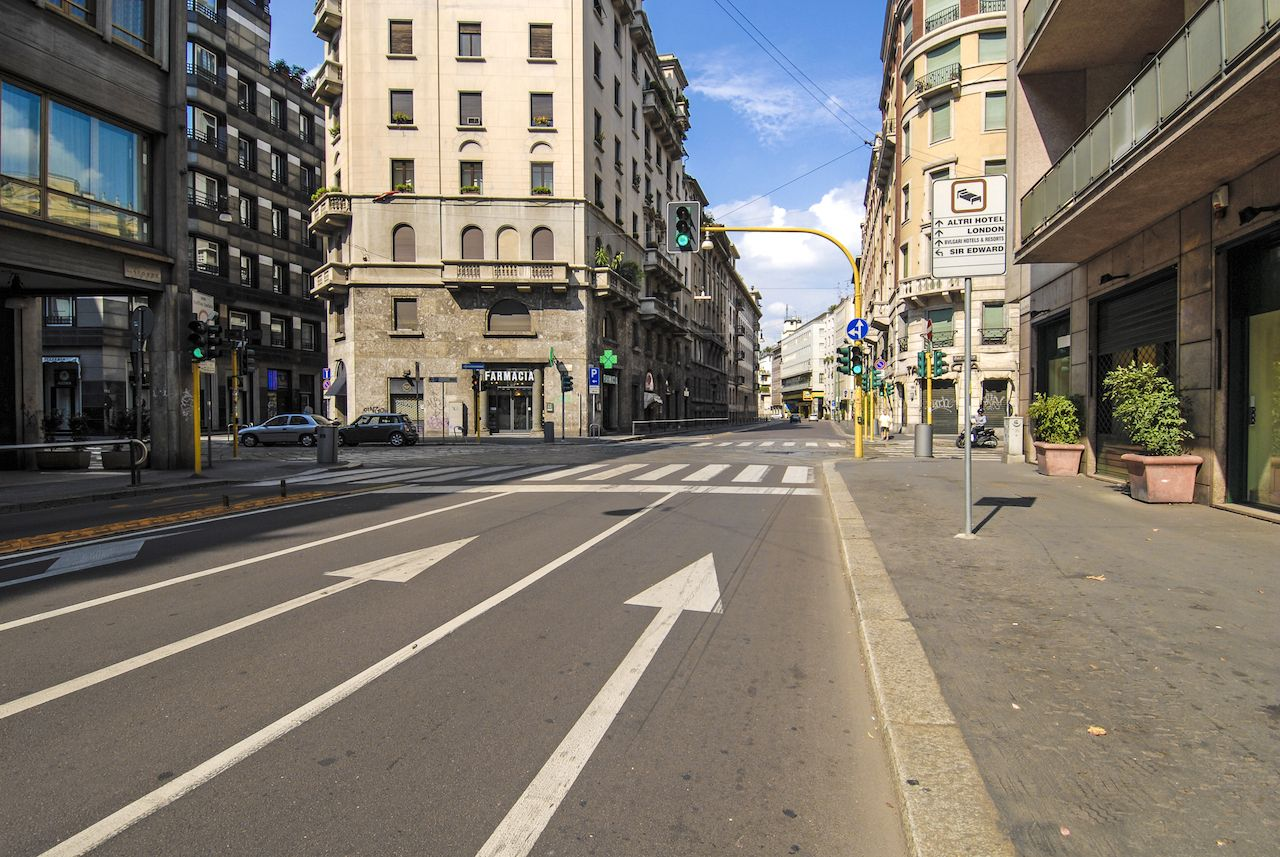 Empty streets in downtown Milan