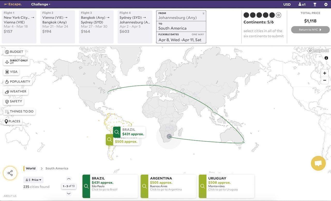 Escape cheap trip planning contest