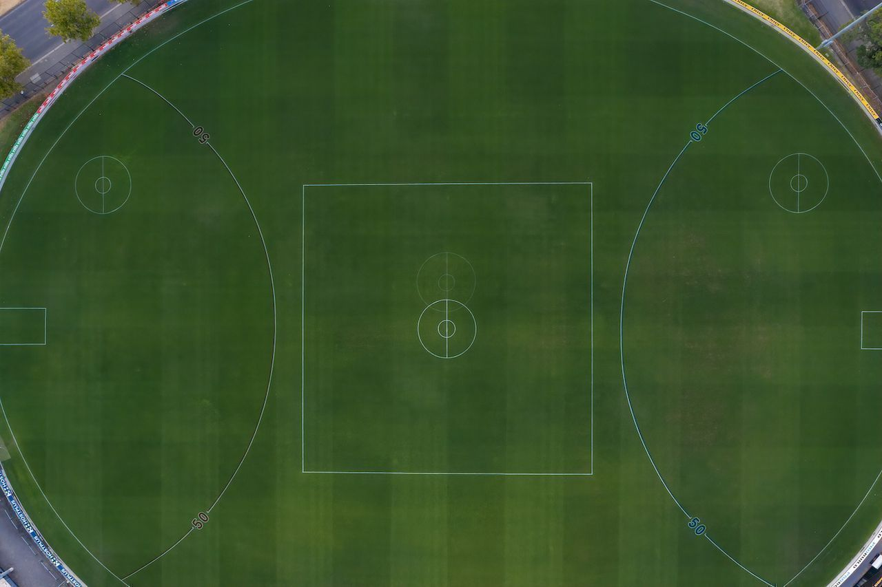 Overhead view of the Punt road Oval