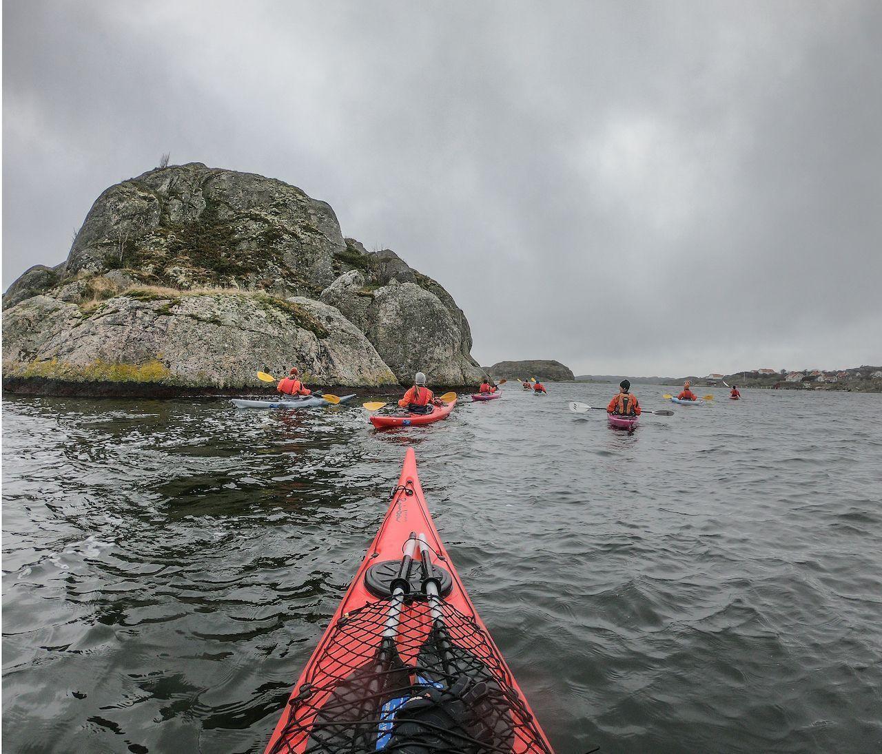Snow kayaking in Sweden
