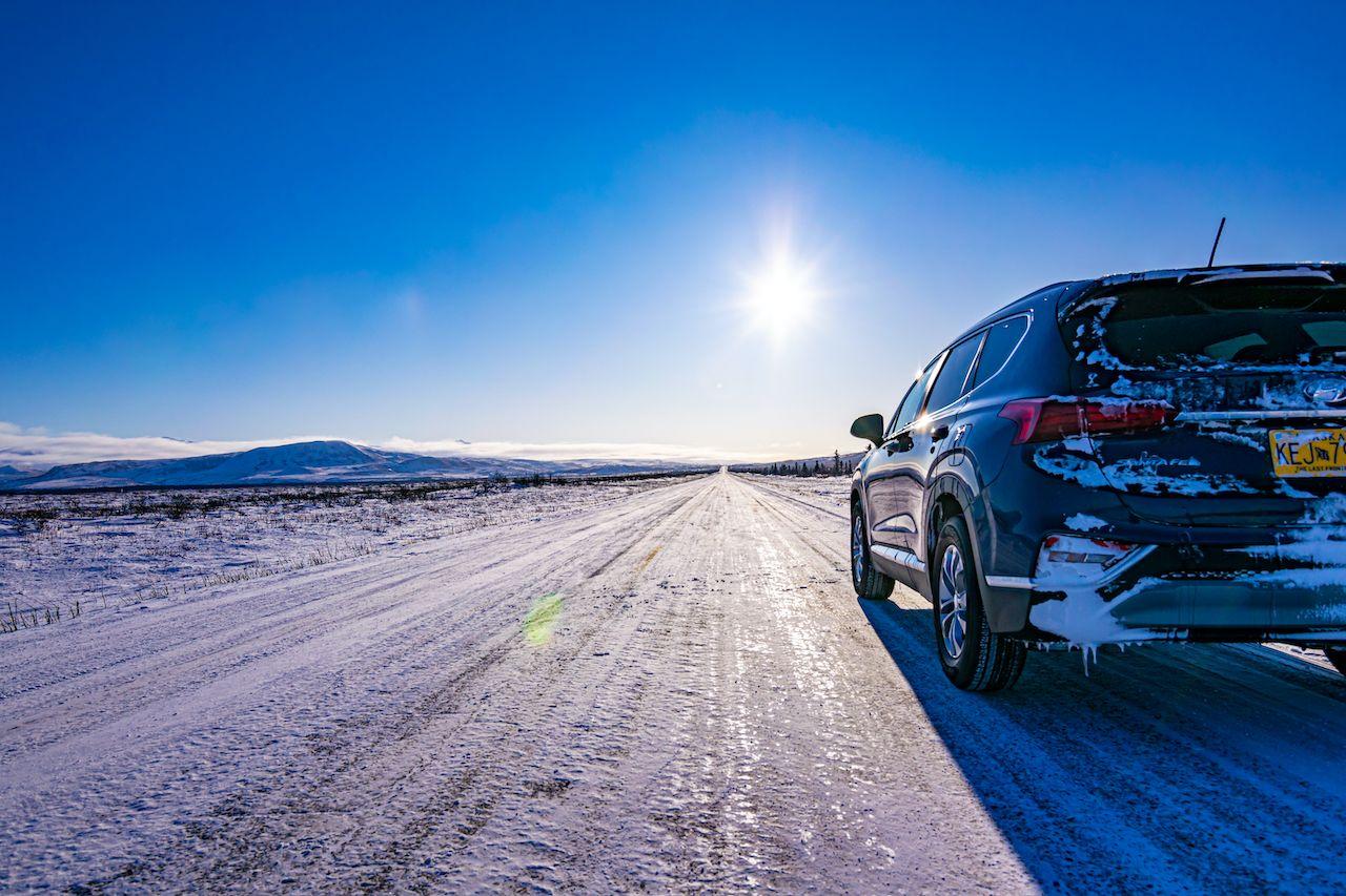 Hyundai Santa Fe on the scenic Richardson Highway of Alaska in winters