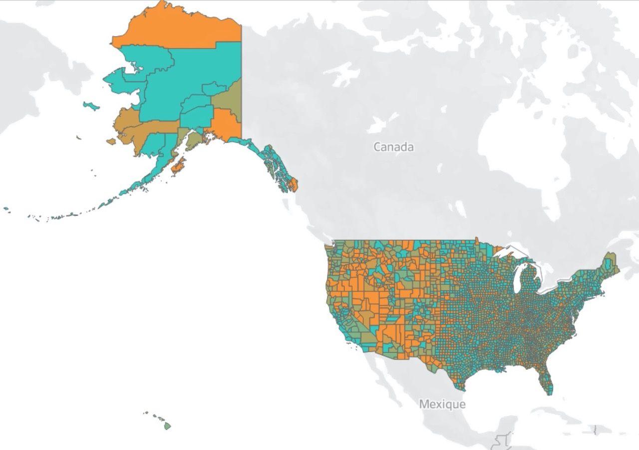 Unacast social distancing map