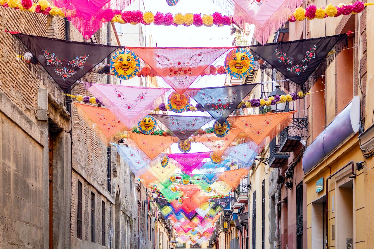 View of tipical madrid tissues in preparation for a neighbourhood party