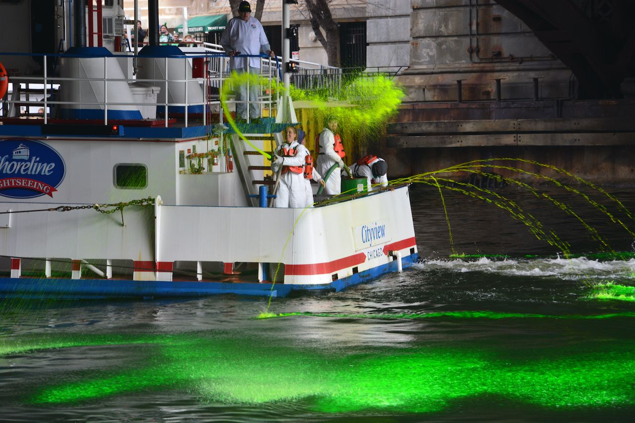 annual Chicago St. Patrick's Day tradition of dying the river green