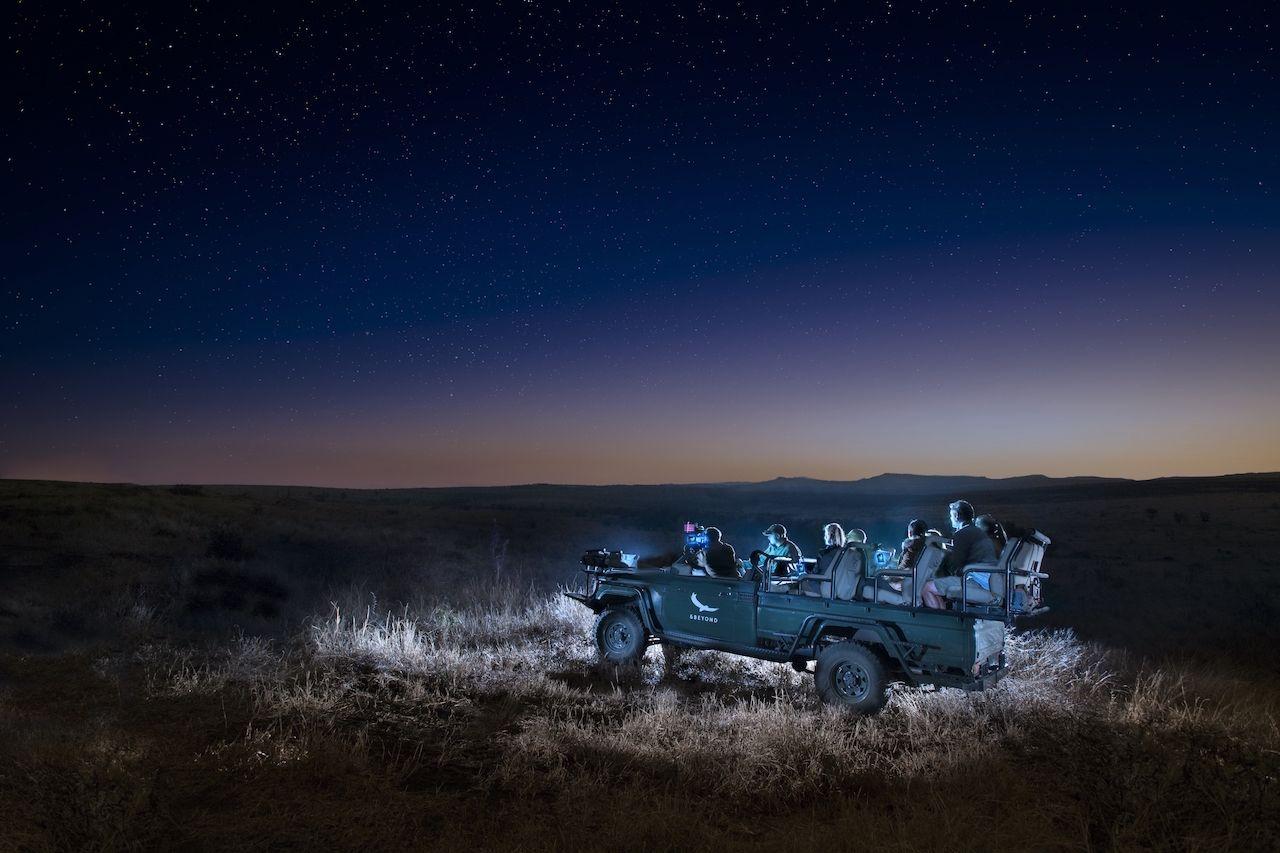 Nighttime safari in South Africa