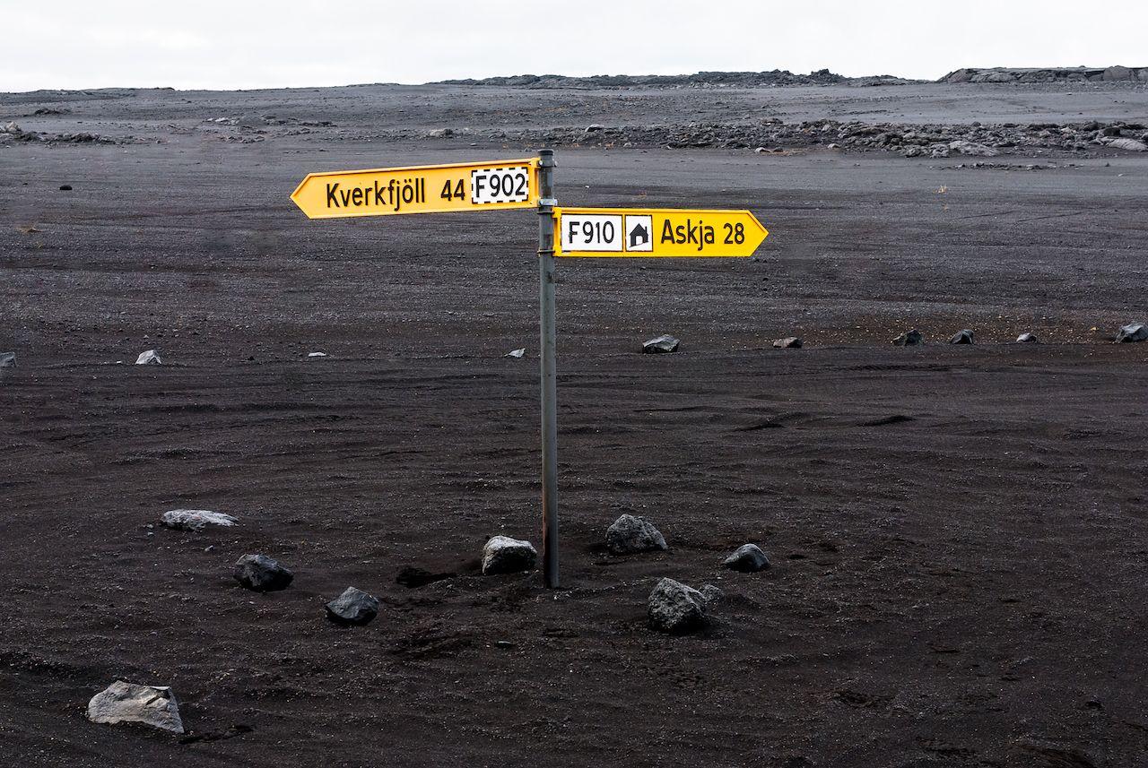 signs near Askja crater