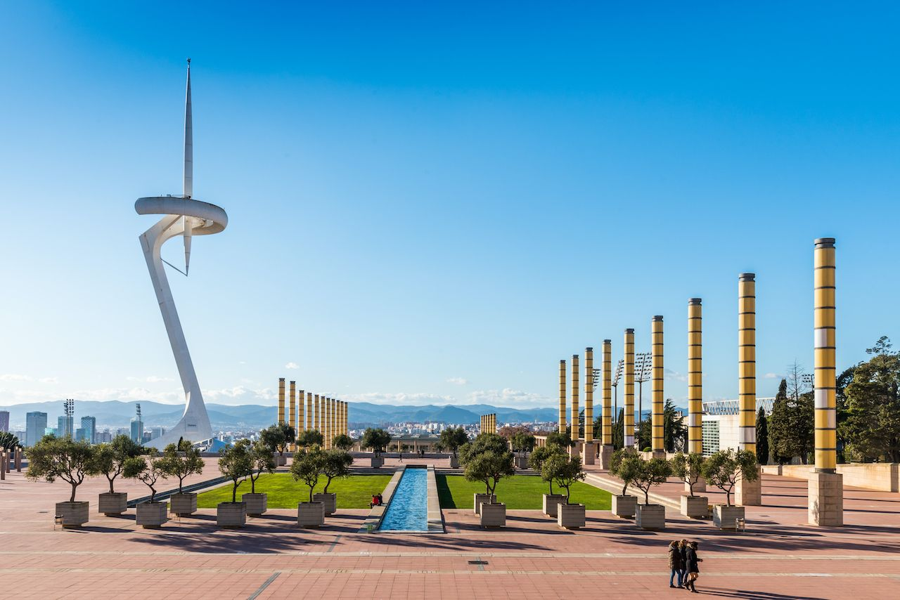 view of famous Calatrava tower in Olympic Park Montjuic in Barcelona