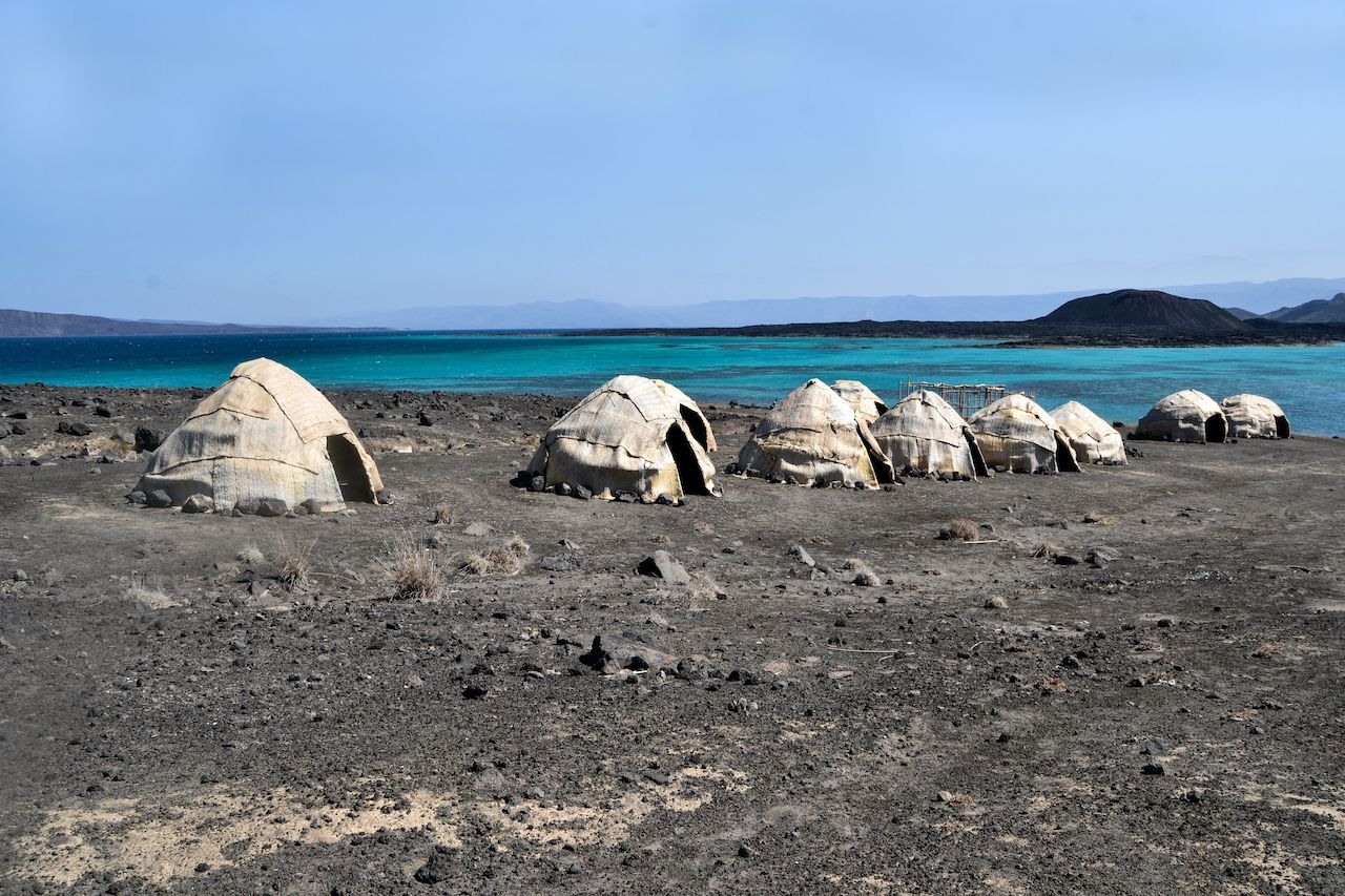 Afar huts in Djibouti