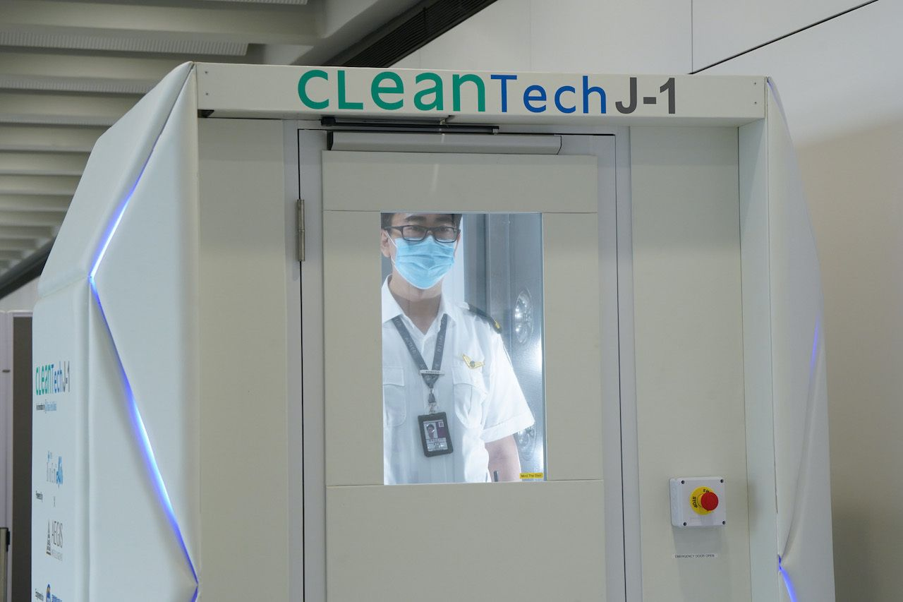 Inside CLeanTech disinfection booth at Hong Kong airport