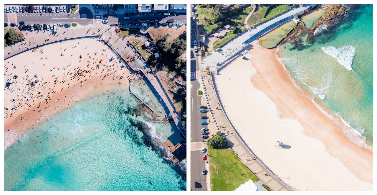 North Bondi Beach Sydney before and after the lockdown