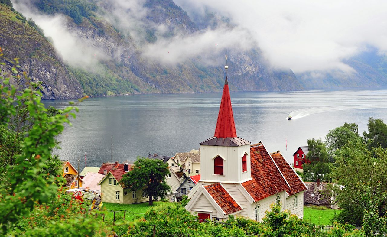 undredal village on fjord, Norway