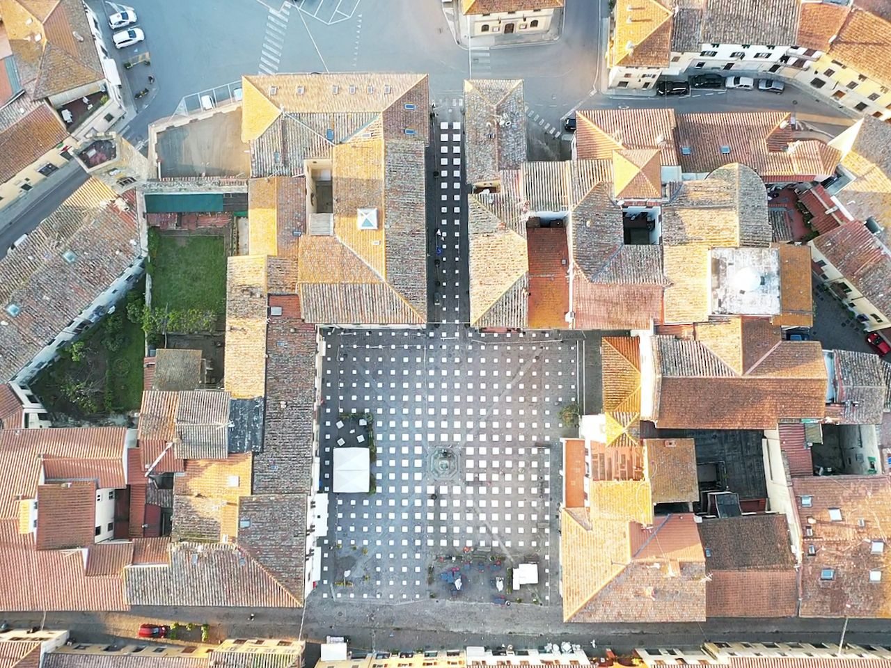 Art installation in Piazza Giotto in Vicchio Italy from above