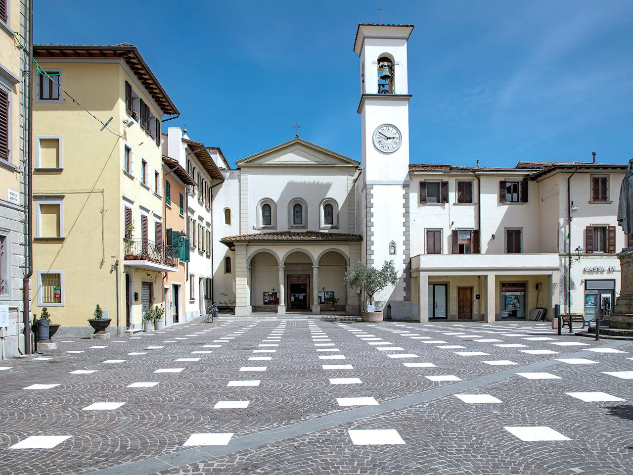Art installation in Piazza Giotto in Vicchio Italy